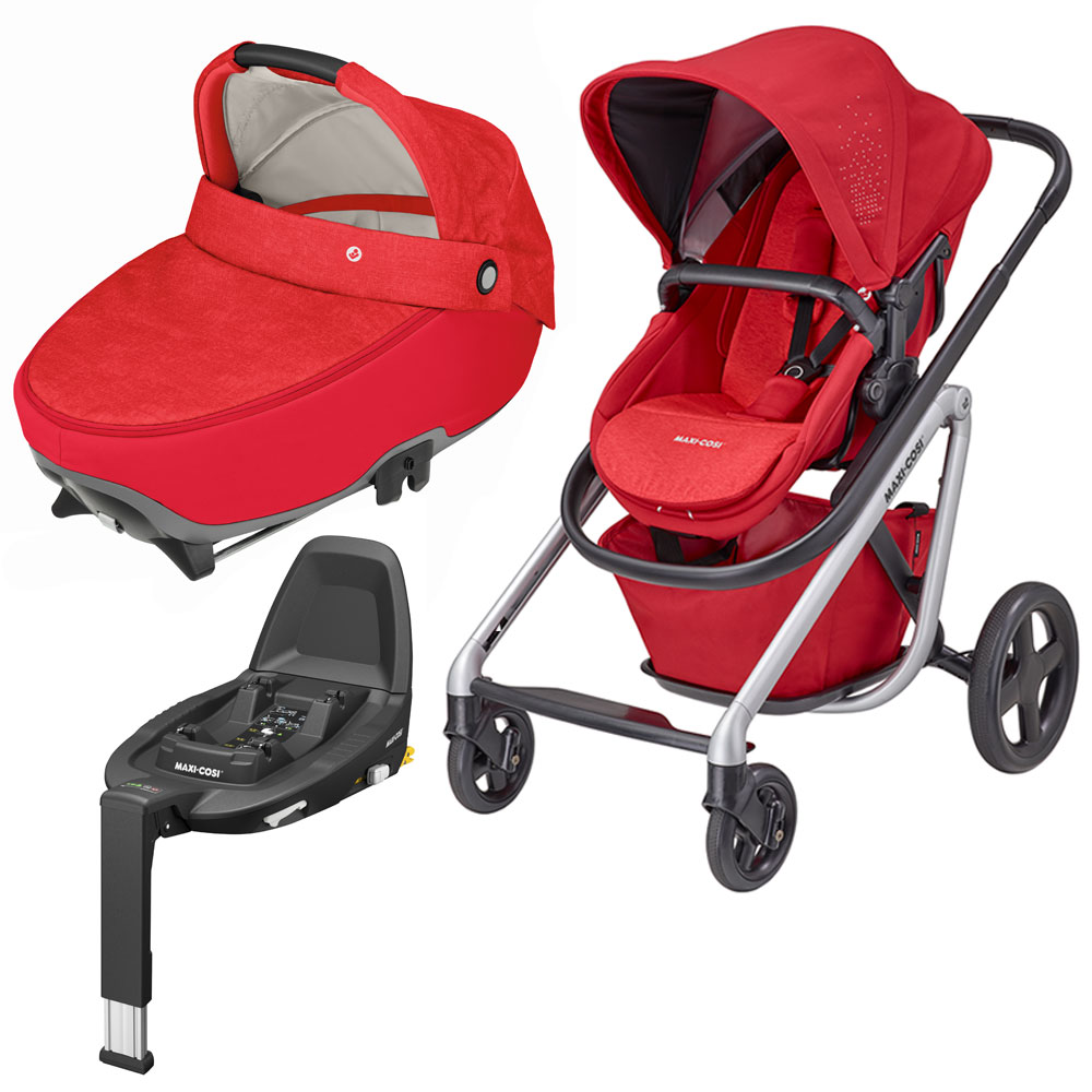 Maxi-Cosi-Lila-Pushchair-Jade-Carrycot-and-Familyfix3-Base-Red-RRP-897
